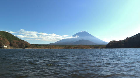 Autumn Landscape in Shoji Lake and Mt.Fuji,Yamanashi,Japan Stock Video Footage