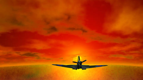 Airplane Flying into Sunset Stock Video Footage