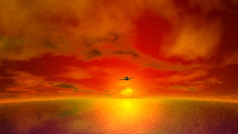 Airplane Flying into Sunset CG動画素材
