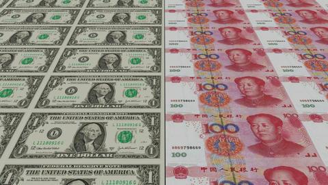 Printing Money Animation,1 dollar and 100 RMB bills Stock Video Footage
