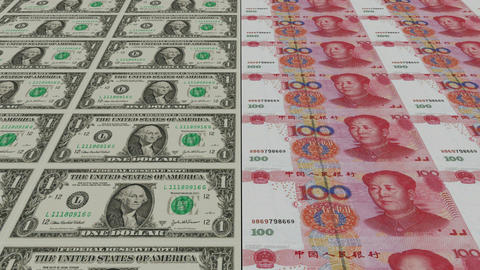 Printing Money Animation,1 dollar and 100 RMB bills Stock Video Footage
