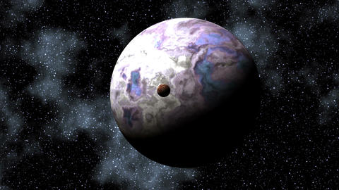 Two planets in depths of space Stock Video Footage