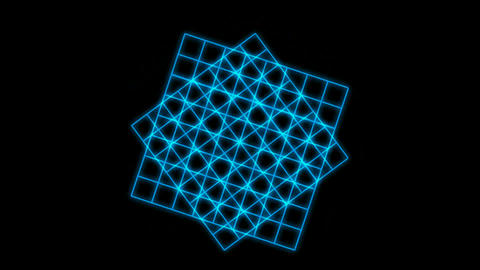 Rotating blue square grid.Cubes,squares,mathematics,scanning,particle,symbol,dream,vision,idea,creat Animation