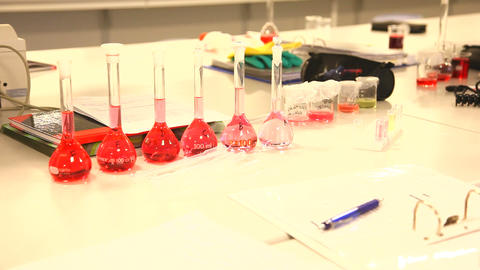 Test tubes with red liquid Stock Video Footage