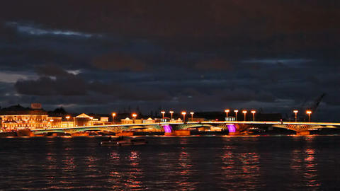 Blagoveshchensky Bridge, night Stock Video Footage