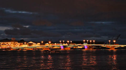 Blagoveshchensky Bridge, night Footage
