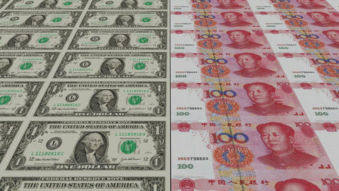 Printing Money Animation,1 dollar and 100 RMB bills Animation