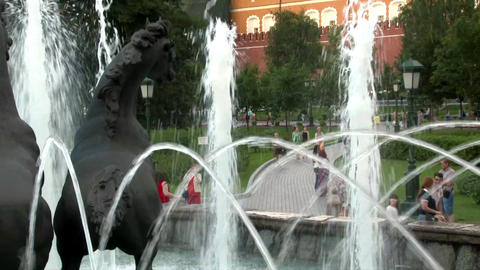 "Fountain ""Four Seasons"" on Manezh Square in Moscow, Russia Footage"