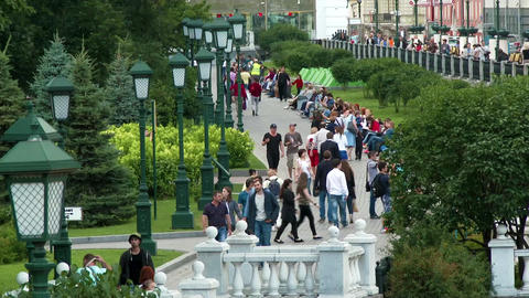 Crowd Of People Walking On Alexander's Garden On Manezh Square In Moscow, Russia stock footage