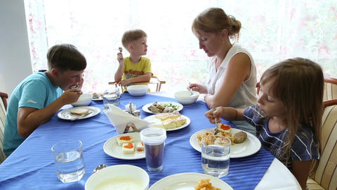 The Family Eats In A Restaurant stock footage