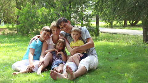 Mom and dad with three kids Footage