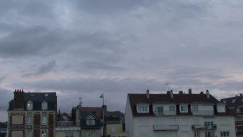 France. Rapidly moving clouds over the town Footage