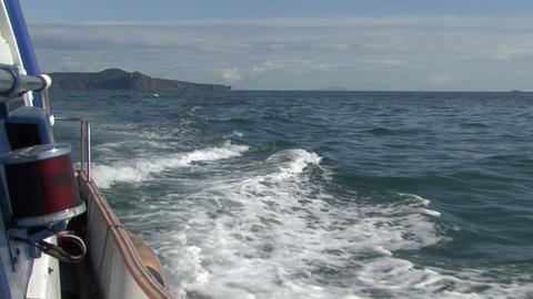 Foamy trace from a boat. Boat trip. Avacha Bay Footage