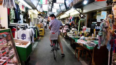 Pov Shopping Street Tsuruhashi Osaka Japan 03 stock footage