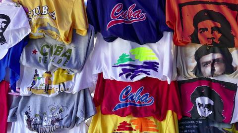 Souvenirs Gifts Shirts Market Shop Tourist Fair Shopping Varadero Cuba Footage