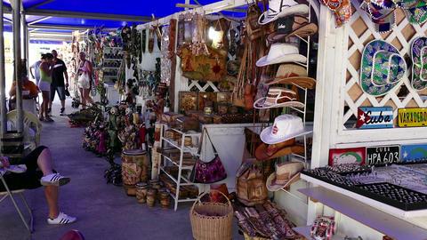 Tourists Shopping Souvenirs Gifts Shirts Market Shop Fair Stalls Cuba Footage