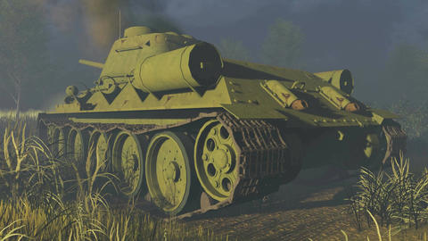 Old Russian Tank T 34 Rear view Footage