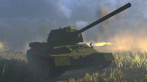Legendary Russian Tank T 34 Front view Live Action