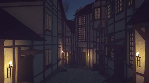Narrow medieval street at dark night Live Action