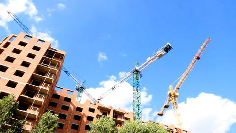 tower cranes building a house Footage