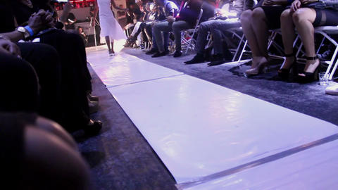 Model in white dress catwalk Footage