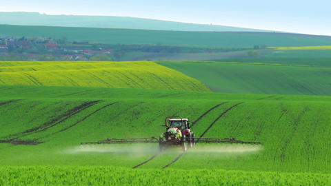 Tractor Watering the Green Field Footage