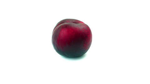 Red Plum On White Background stock footage