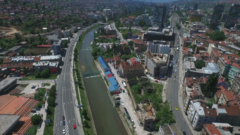 Sarajevo buildings and river - slow motion Footage