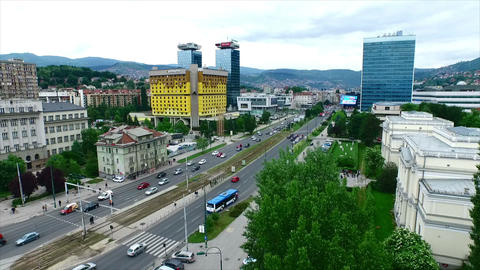 Sarajevo city aerial - slow motion Footage
