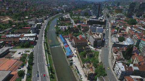 Sarajevo buildings and river Footage