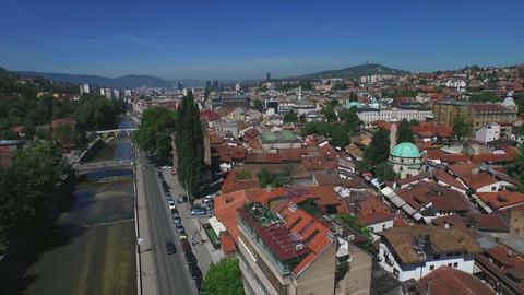 Sarajevo Old Town Aerial Footage
