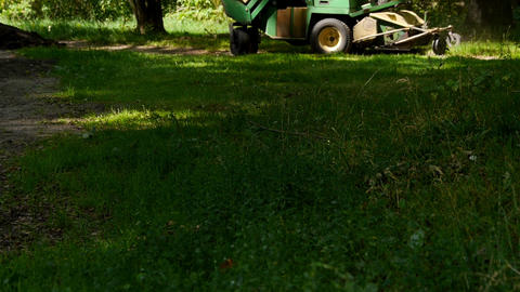Mowing Using Large Lawn Mower stock footage