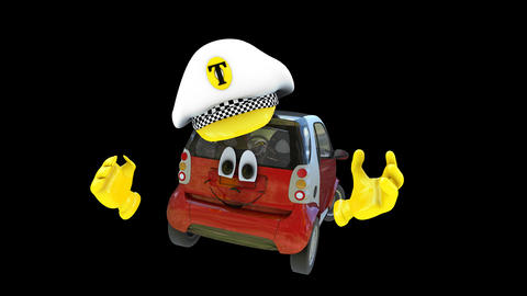 Animated Taxi Character stock footage