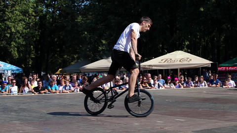 Extreme Bmx Bike Riders Making Tricks Live Action