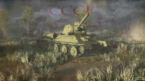 Russian Tank T 34 Take Aim At The Camera stock footage