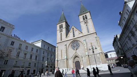 The Sacred Heart Cathedral in Sarajevo Footage