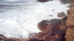 Waves Splashing On The Shore In Cyprus stock footage