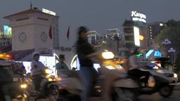 Night traffic in Ho Chi Minh City (Saigon) Vietnam Footage