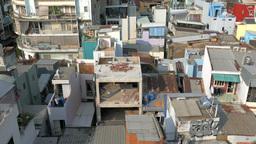 Aerial view on roofs, tilt shot. Saigon, Vietnam Footage