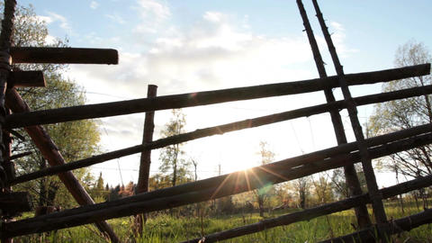Wooden fence and landscape Footage