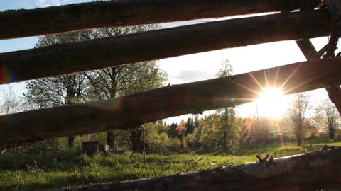 Wooden Fence And Sunlight stock footage