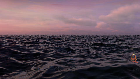 Fly Over Ocean Waves At Sunset stock footage