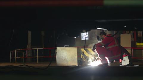 European Caucasian man fixing the rails Footage