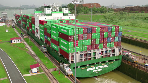 Freighter Boat Ship Containers Global Commerce Worldwide Panama Canal stock footage
