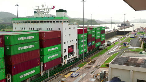 Cargo Ship Boat Freighter With Containers Moving Through Panama Canal Footage