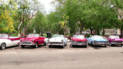 Old Vintage Cars Parked In The Streets Of Havana Cuba Footage