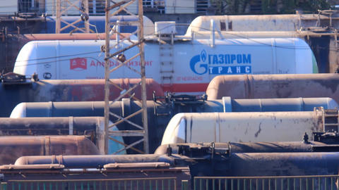 Railroad Tank Cars stock footage