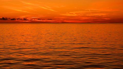 Warm Sunset On At Sea stock footage