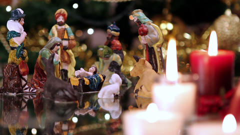 Christmas nativity scene with candles Footage