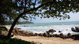 Beach Thailand. Rocks And Waves. Shooting On The Move stock footage